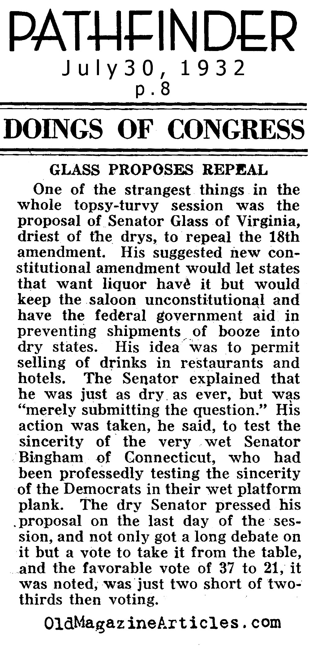 Talk of Repeal on Capitol Hill (Pathfinder Magazine, 1932)