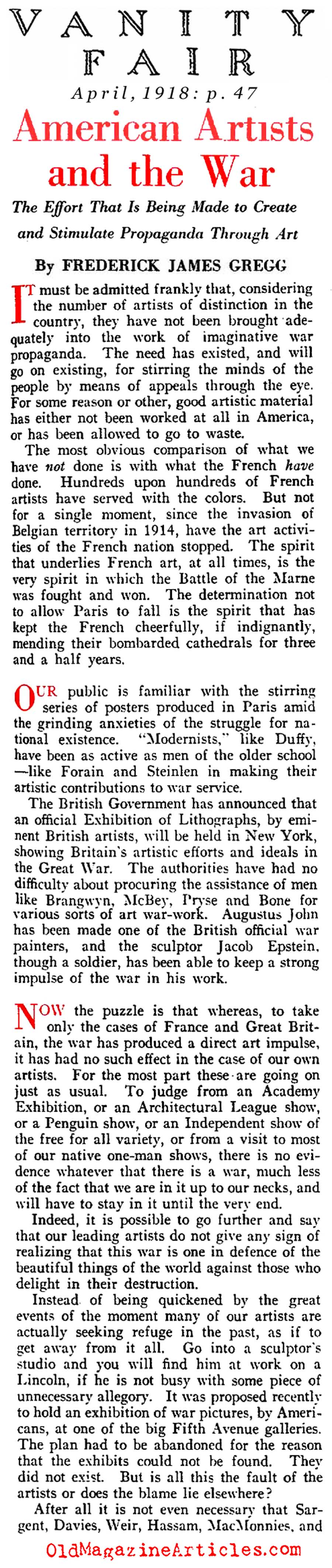 W.W. I  Poster Artists Criticized (Vanity Fair Magazine, 1918)