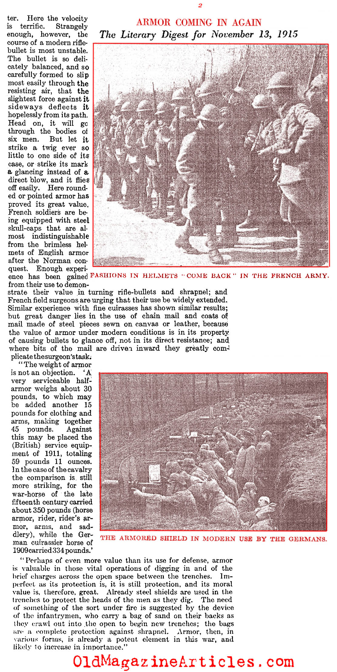 Helmets Along the Western Front (Literary Digest, 1915)