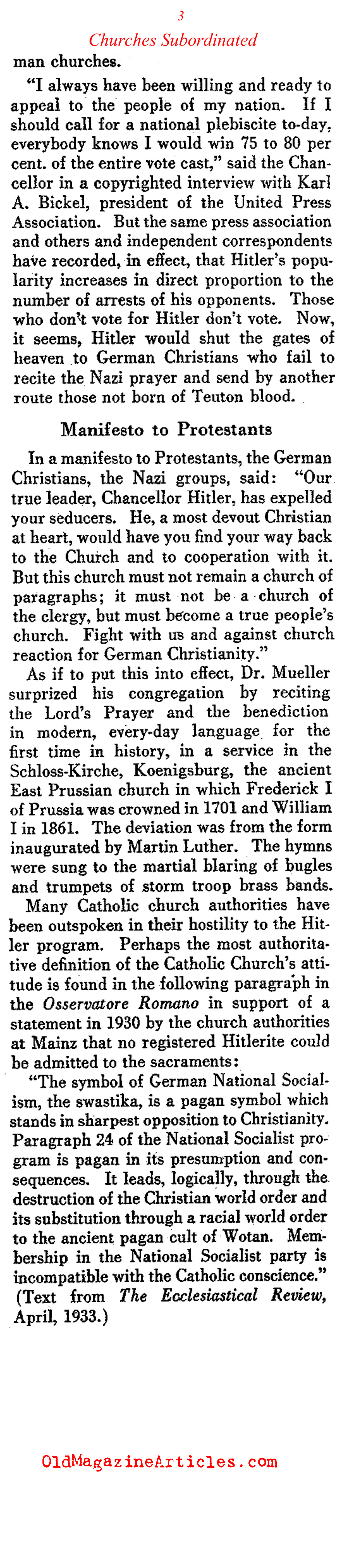Protestant Churches Forced into Submission (Literary Digest, 1933)