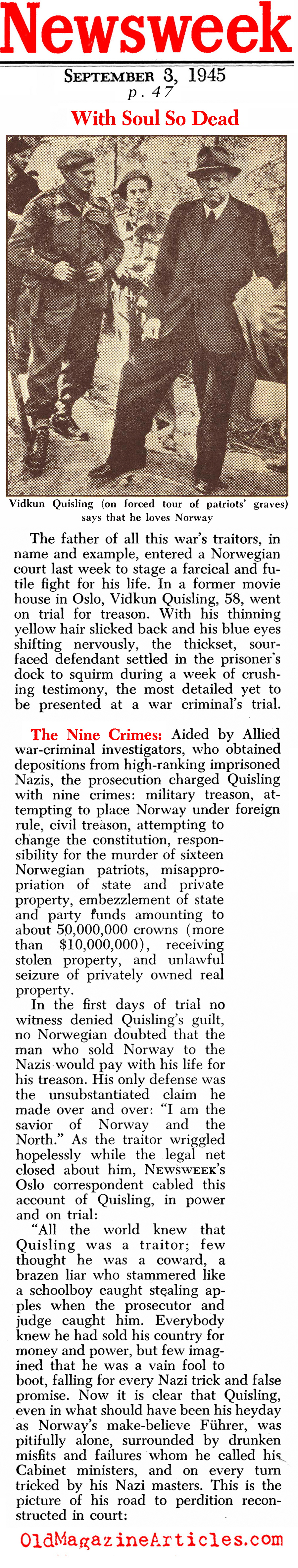 Judgment in Oslo (Newsweek Magazine, 1945)
