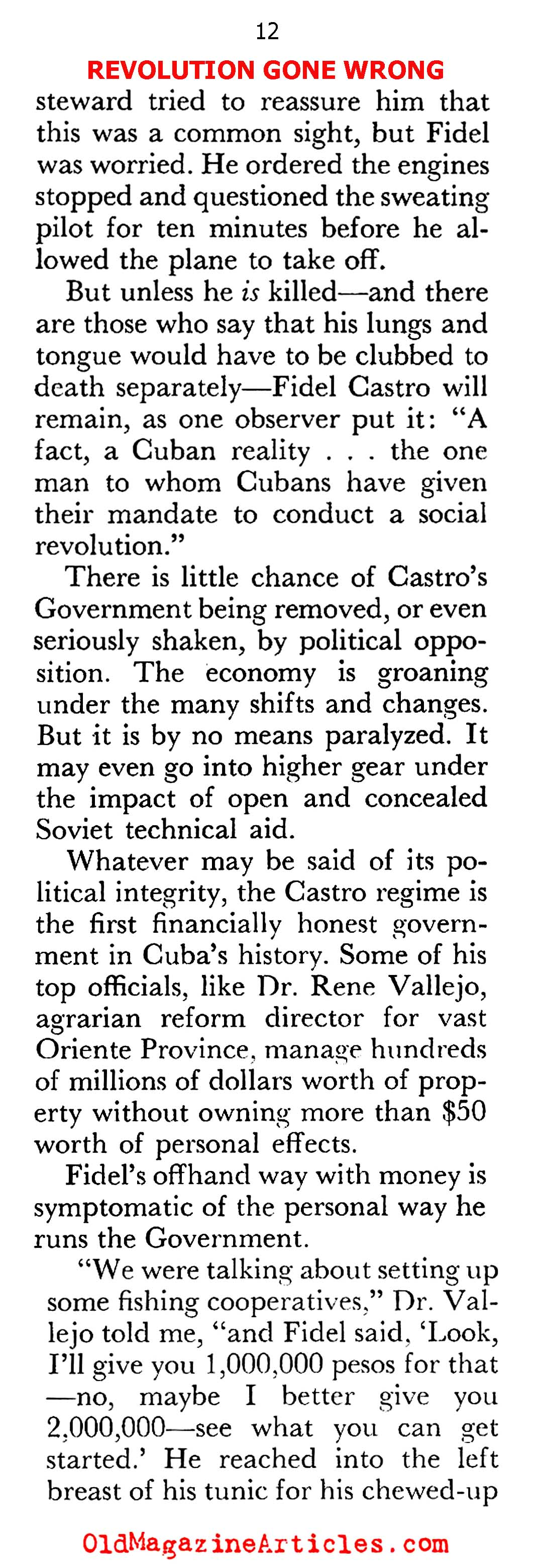 Castro Shows His Hand... (Pageant Magazine, 1960)