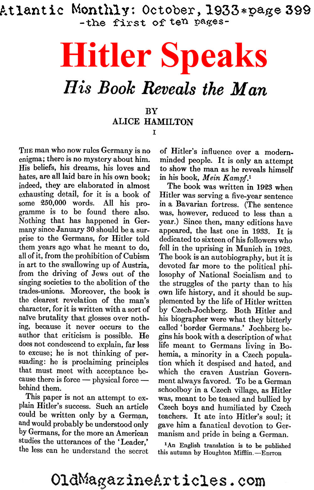 The Review of Mein Kampf (Atlantic Monthly, 1933)