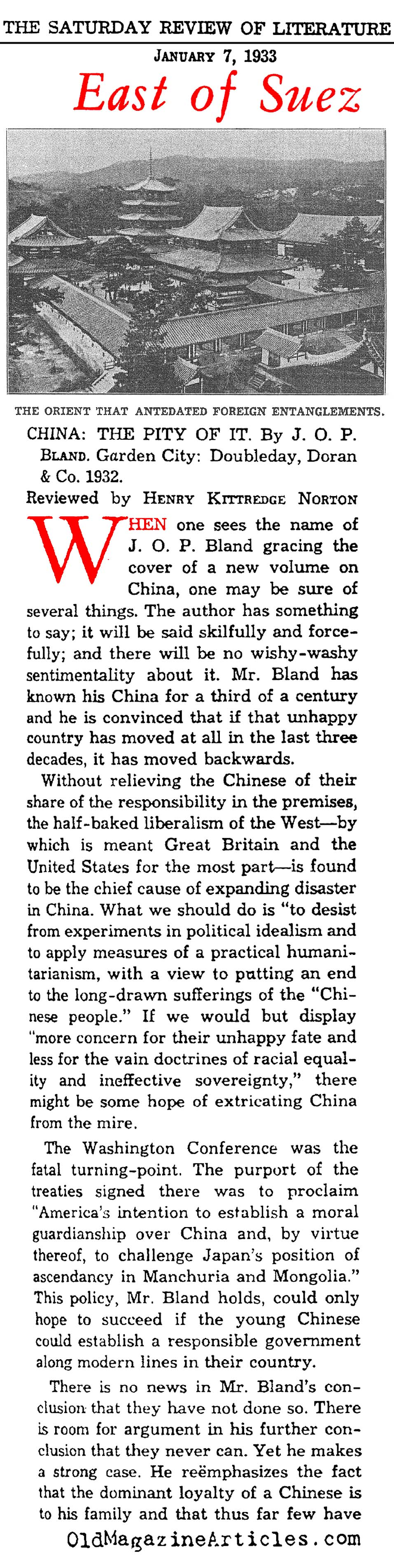 ''China: The Pity of It'' (Saturday Review of Literature, 1933)