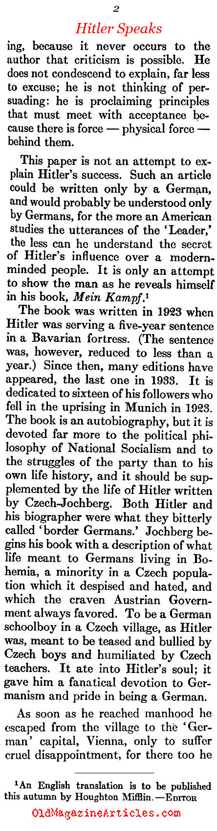 Hitler Gets a Bad Review (Atlantic Monthly, 1933)
