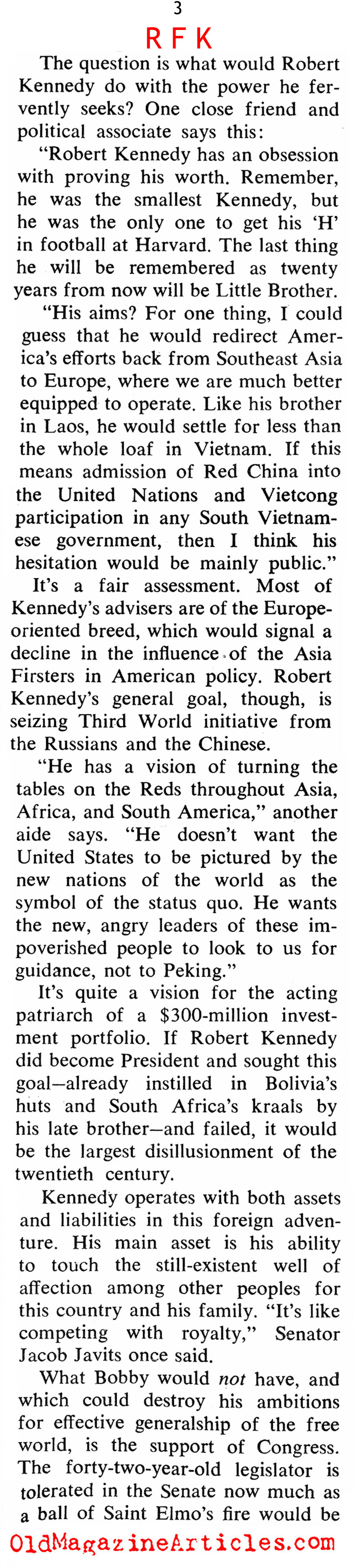 Anticipating A Robert Kennedy Presidency (Coronet Magazine, 1968)