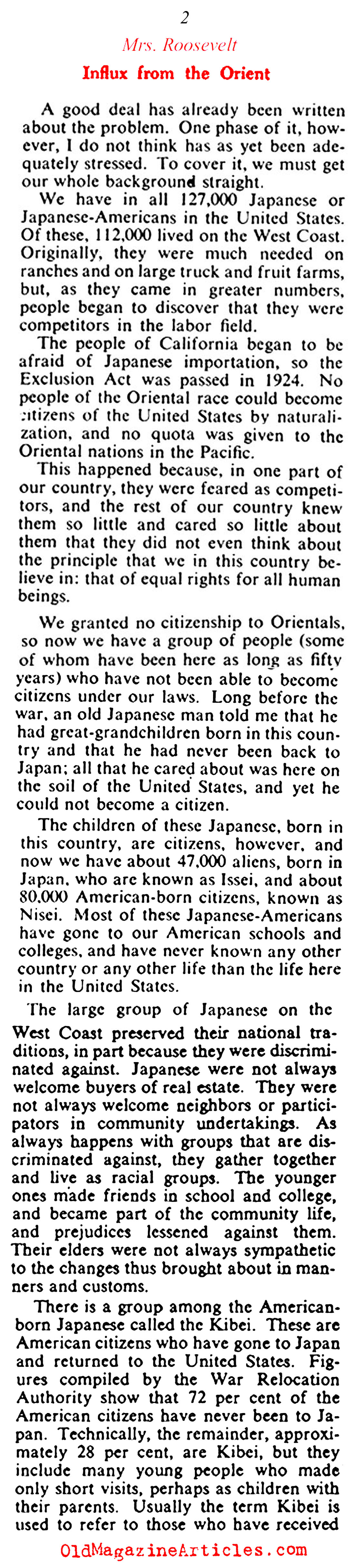 Eleanor Roosevelt on Japanese-American Internment (Collier's Magazine, 1943)