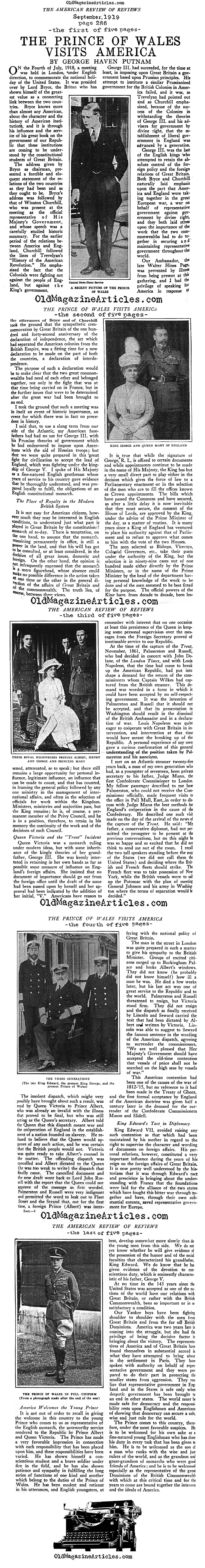The Prince of Wales Visits America (Review of Reviews, 1919)