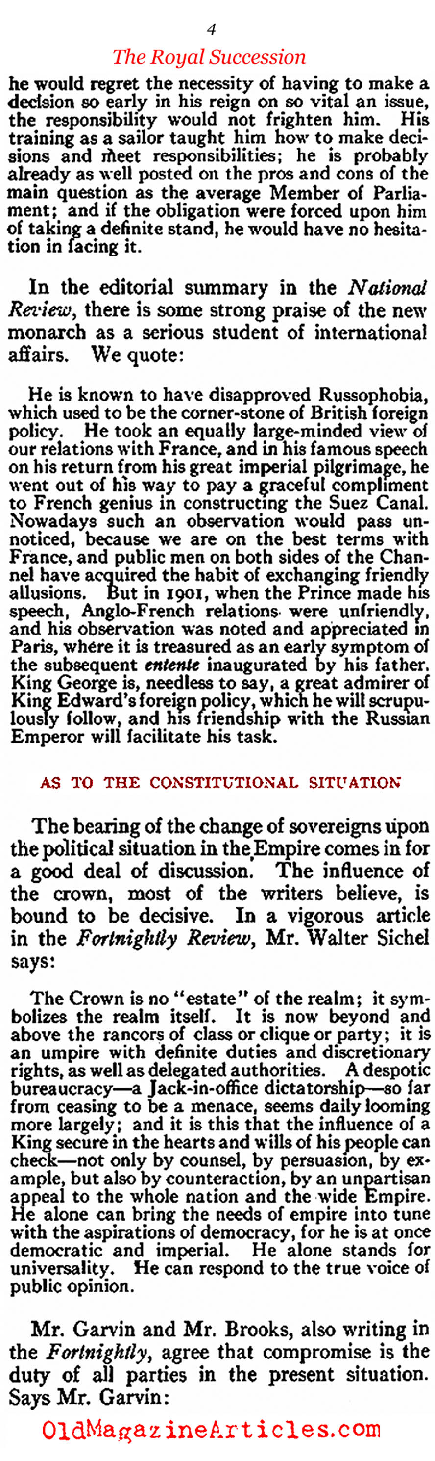 The Death of Edward VII & the Accession George V (Review of Reviews, 1910)