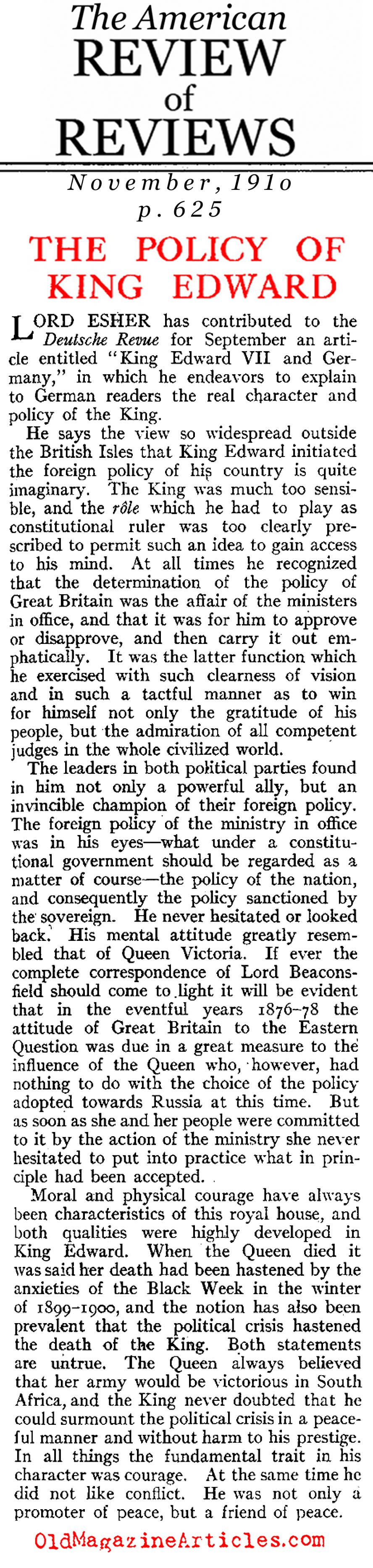 The Policies of King Edward VII (Review of Reviews, 1910)