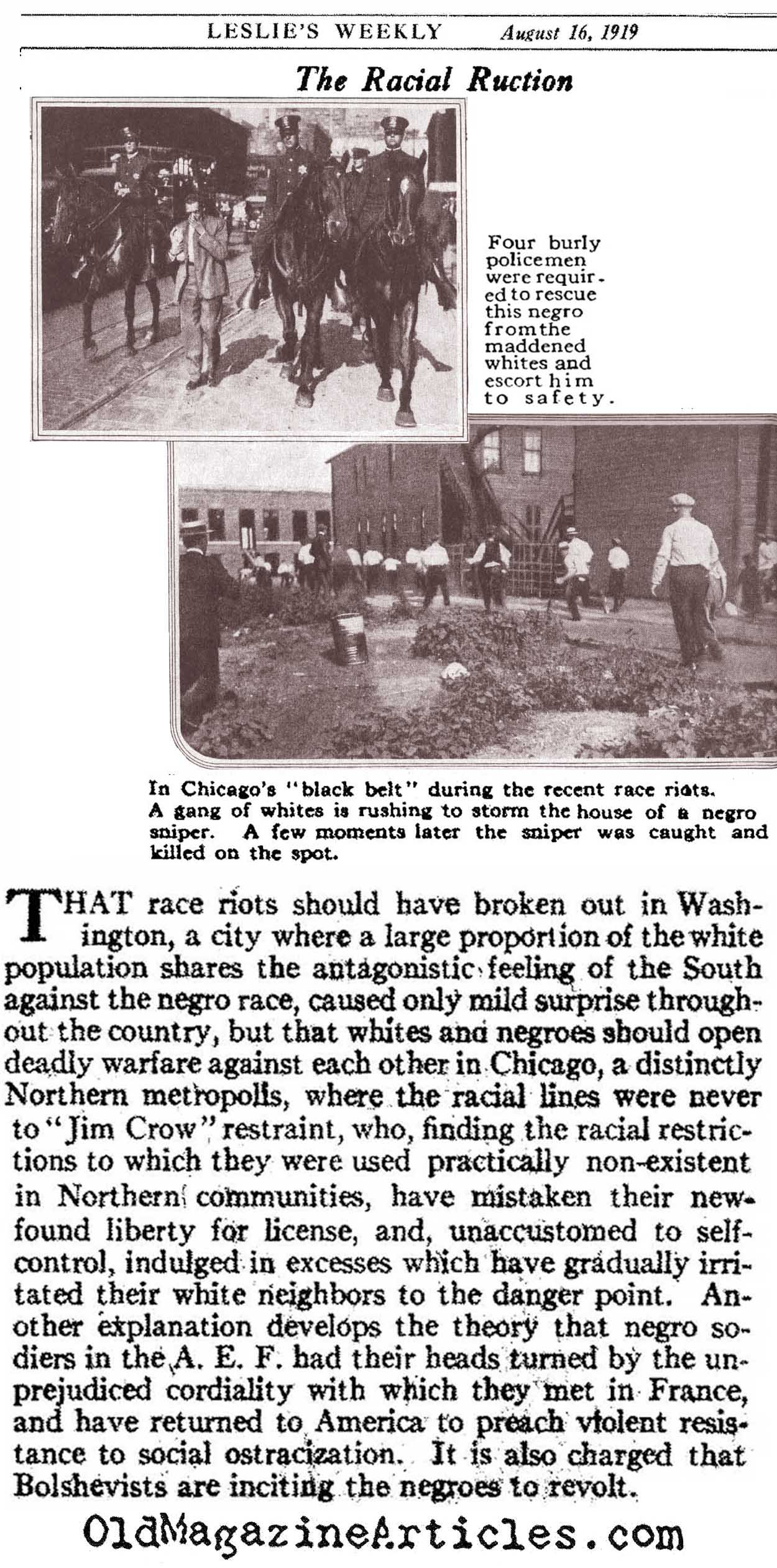 Race Riots in Chicago and Washington (Leslie's Weekly, 1919)