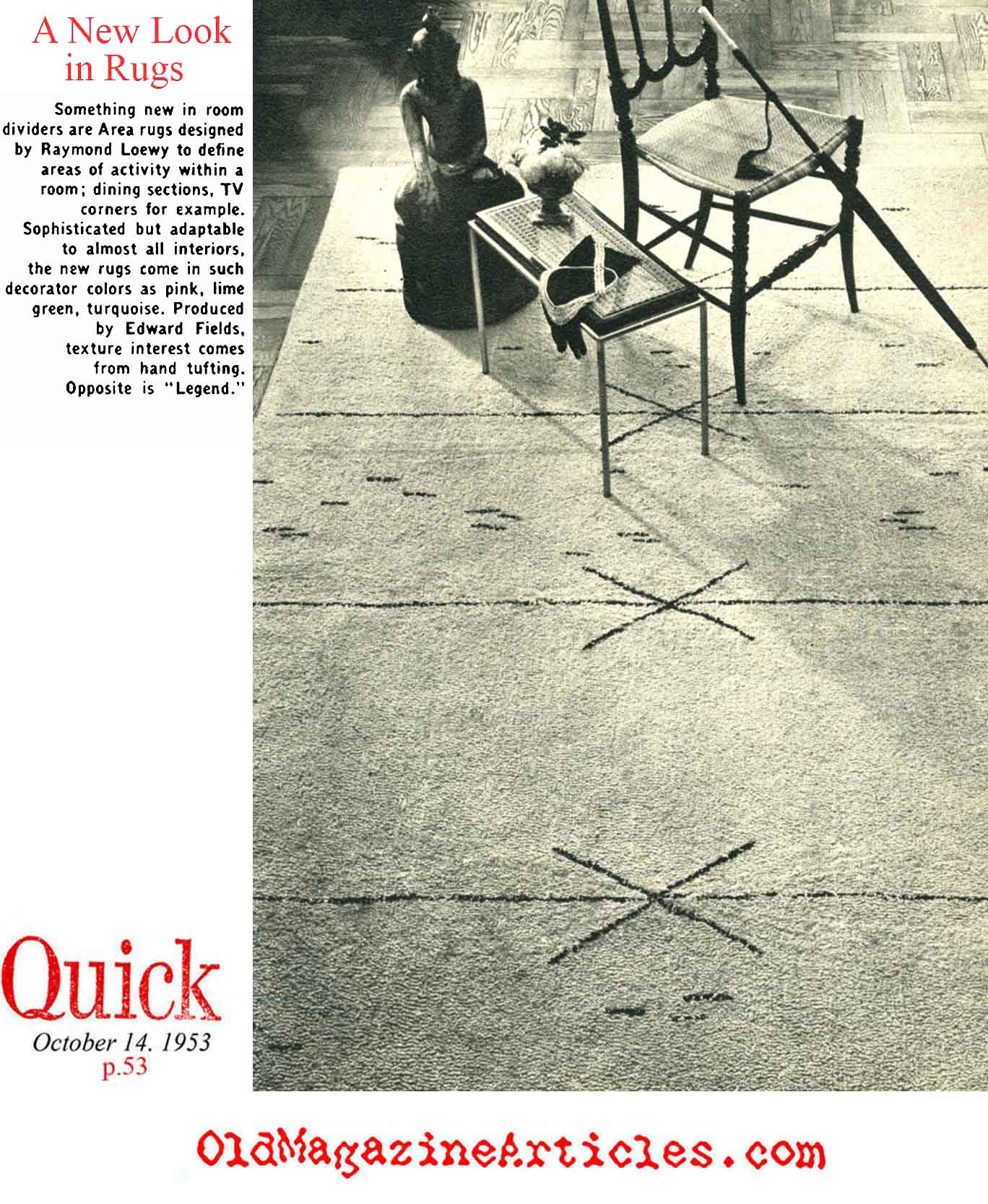 A Rug by Raymond Loewy (Quick Magazine, 1953)