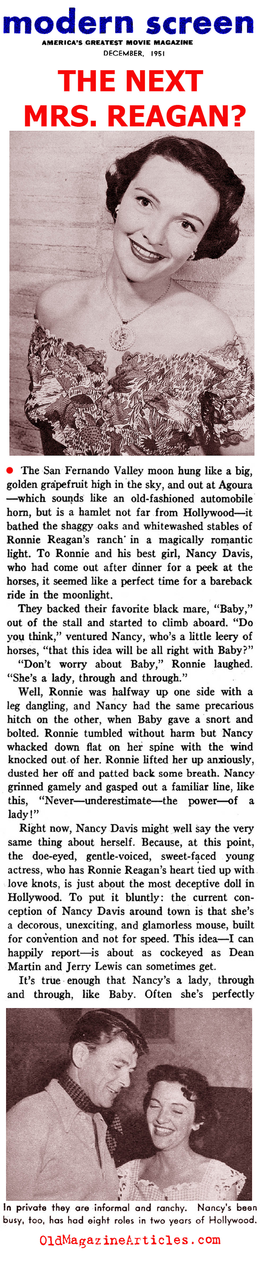 The Young Nancy Reagan (Modern Screen, 1951)