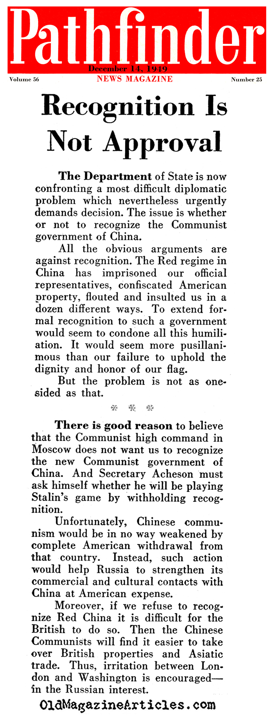 Did Stalin Want the U.S. to Recognize China?  (Pathfinder Magazine, 1949)