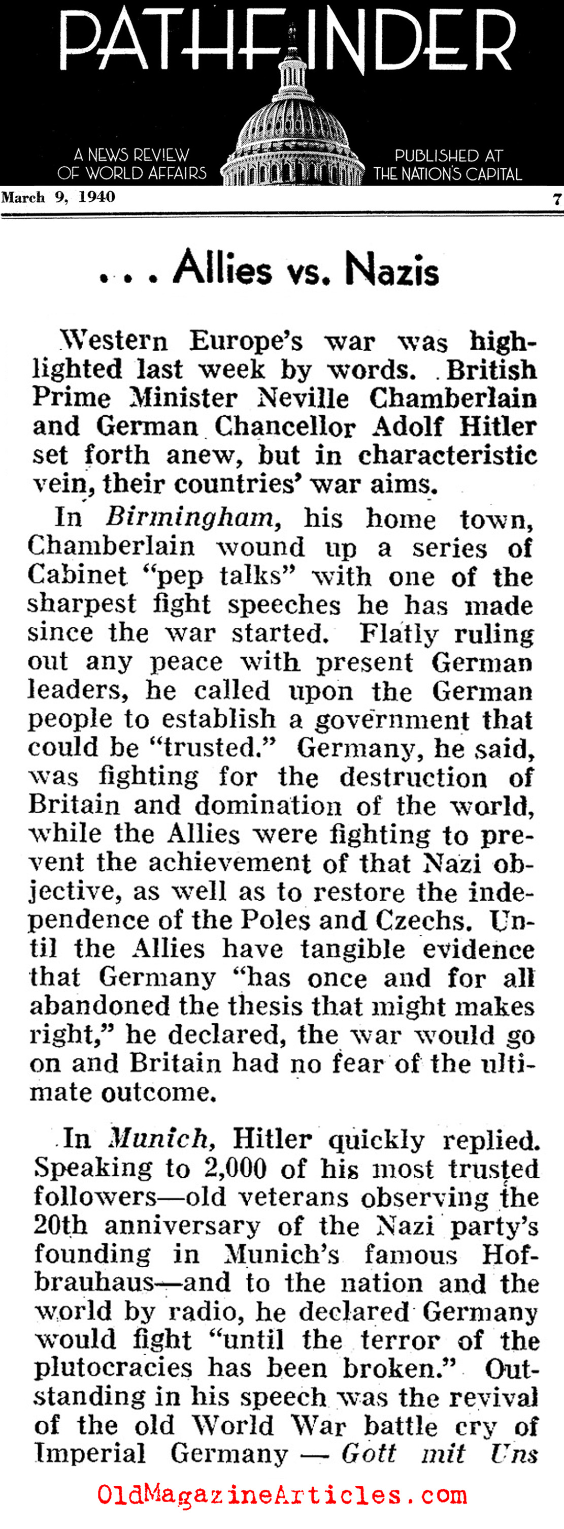 Speeches by Hitler and Chamberlain Compared (Pathfinder Magazine, 1940)