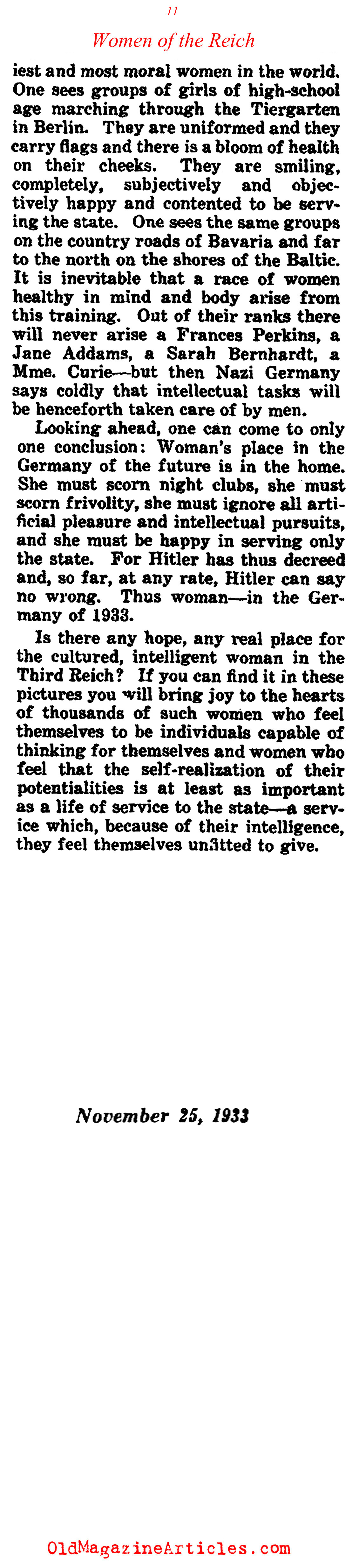 A Woman's Place Within the Third Reich (Collier's Magazine, 1933)