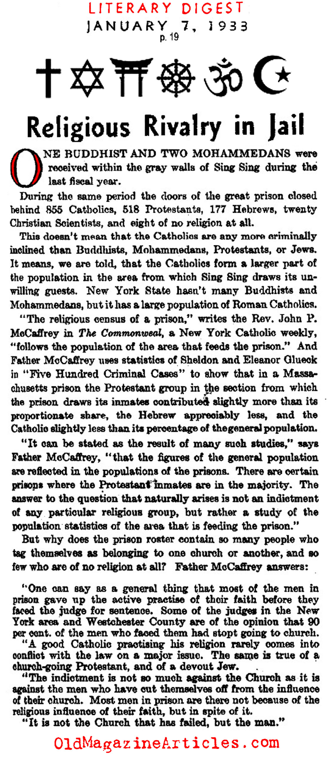 Religions at Sing Sing Prison (Literary Digest, 1933)