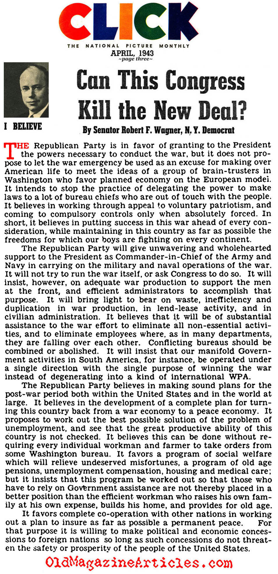 Can Congress Kill the New Deal? (Click Magazine, 1943)