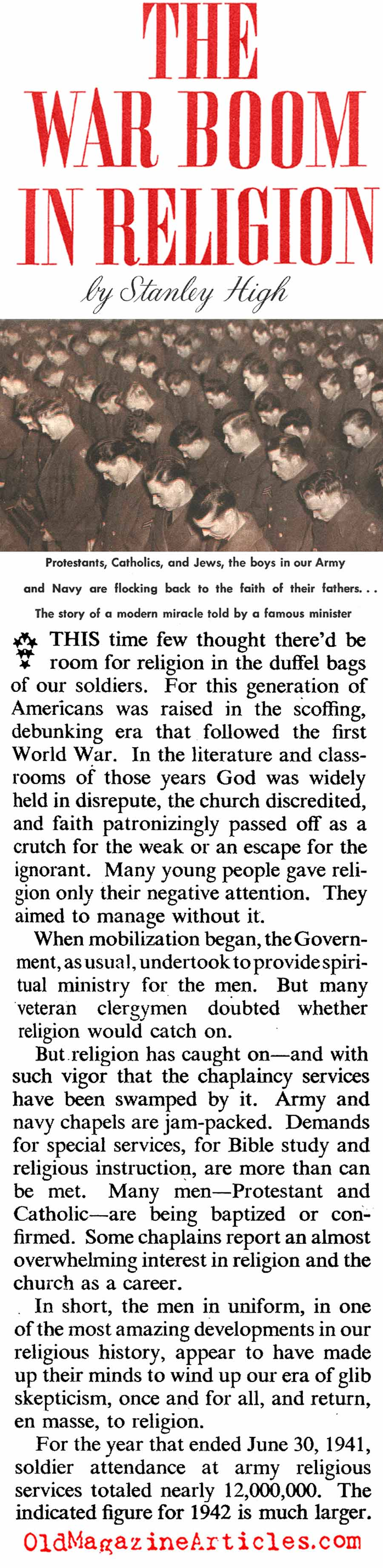 The W.W. II Revival In Faith (American Magazine, 1942)
