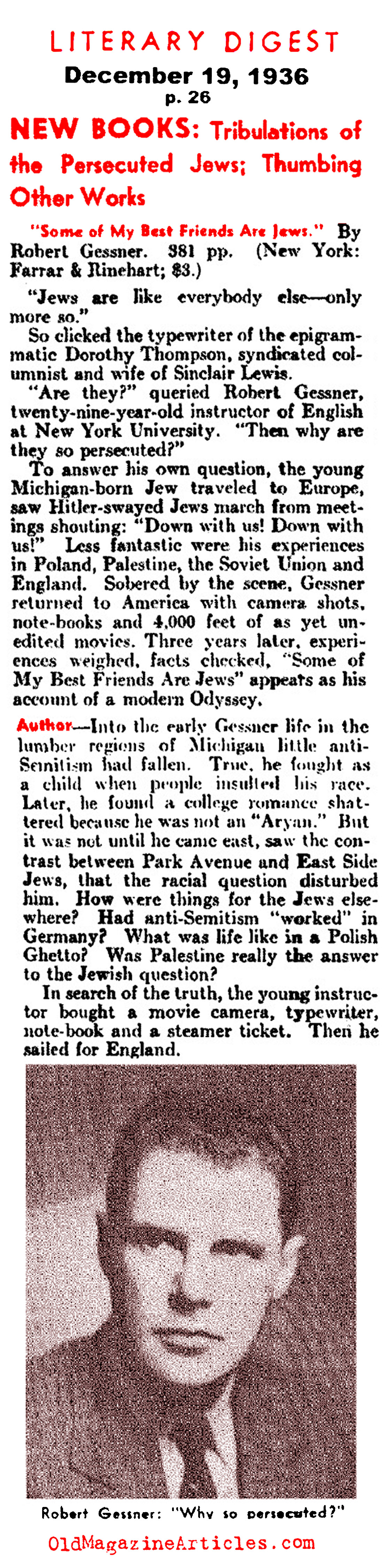 ''Some of My Best Friends Are Jewish''  (Literary Digest, 1936)