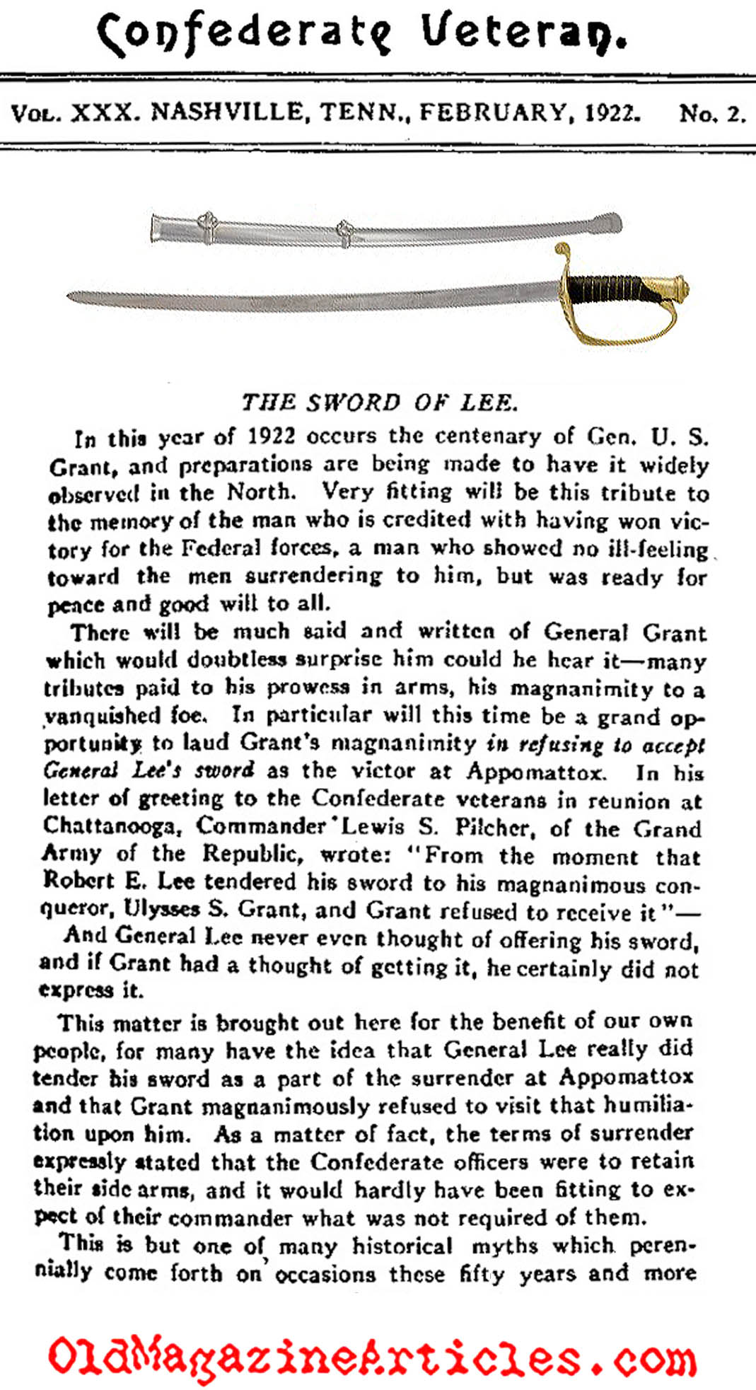 The Myth of Lee's Sword  (Confederate Veteran, 1922)
