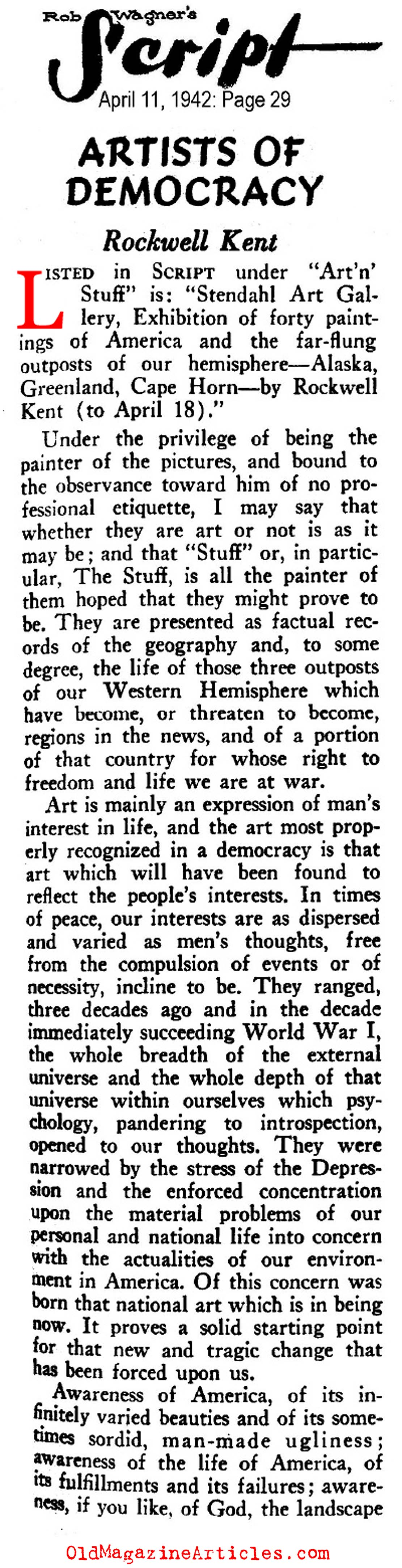 Rockwell Kent: Artists of Democracy (Rob Wagner's Script Magazine, 1942)