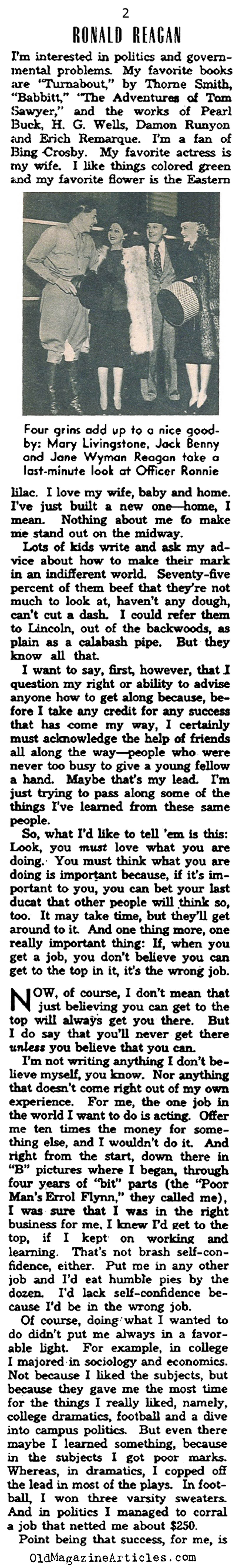 Ronald Reagan in his Own Words (Photoplay Magazine, 1942)