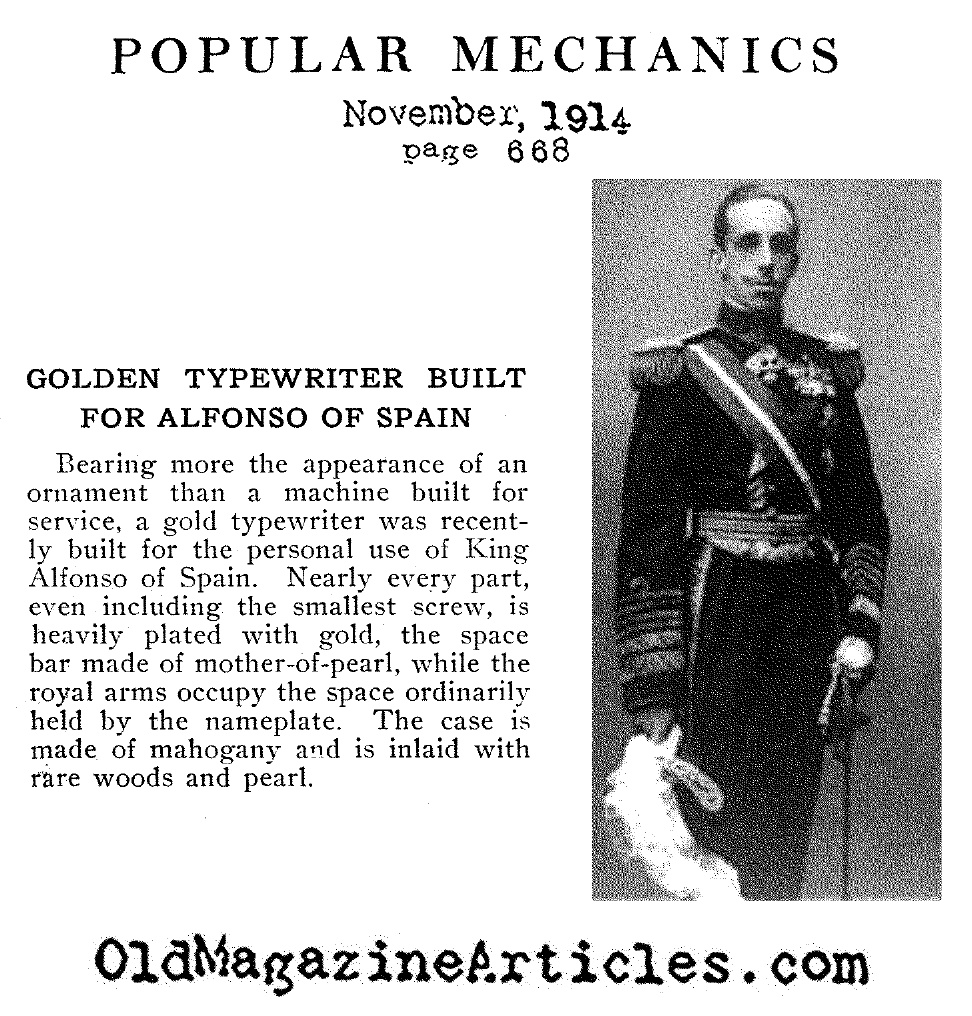 Alfonso XIII and his Typewriter (Popular Mechanics, 1914)