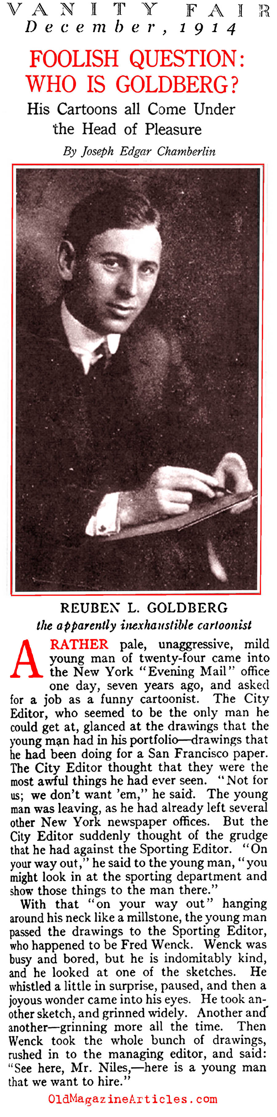 A Profile of Cartoonist Rube Goldberg, Cartoonist and Quack-Inventor  (Vanity Fair, 1914)