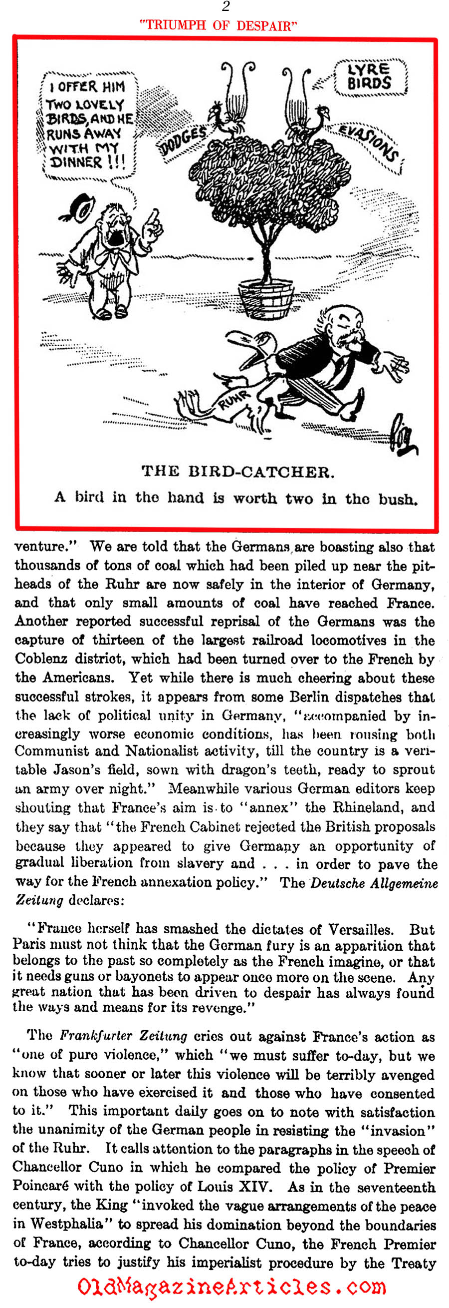 The French Army Moves into the Ruhr Valley (Literary Digest, 1923)
