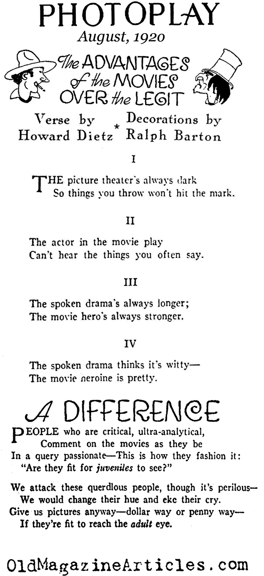 The Advantages of Silent Movies Over Theater (Photoplay Magazine, 1920)