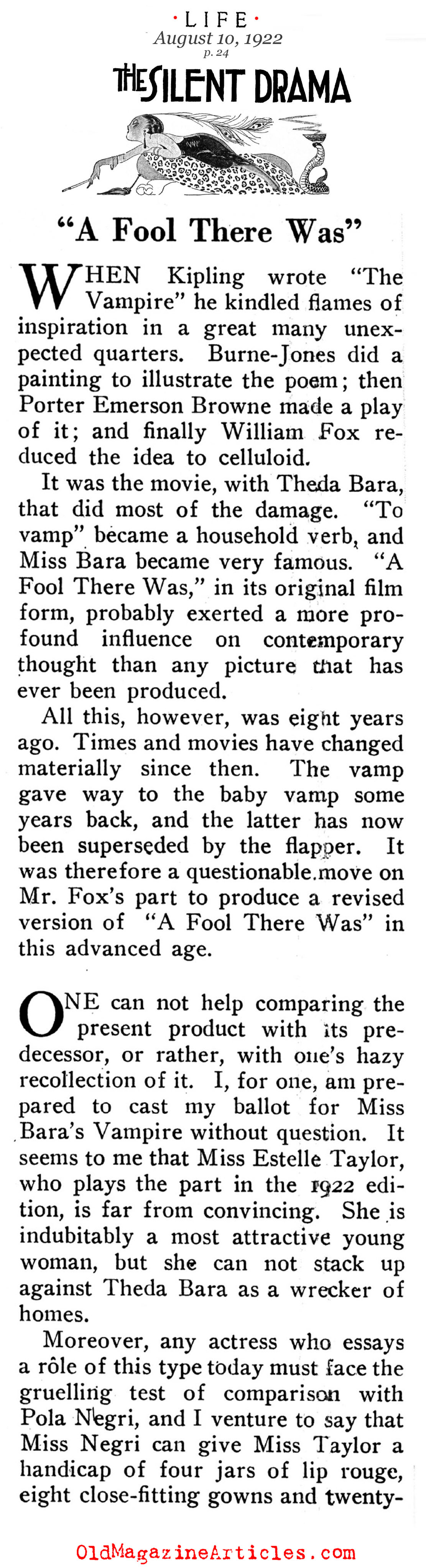 Reviewed: A Fool There Was (Life Magazine, 1922)