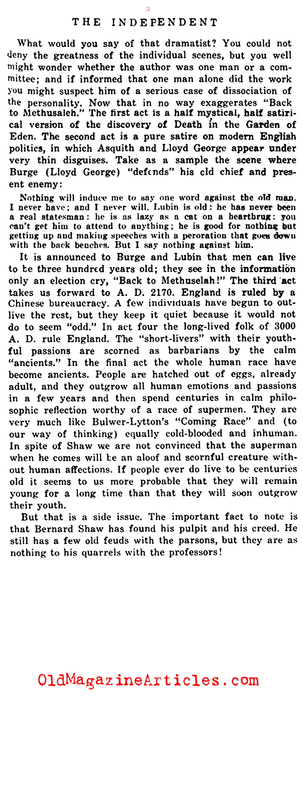 The Conversion of George Bernard Shaw (The Independent, 1921)