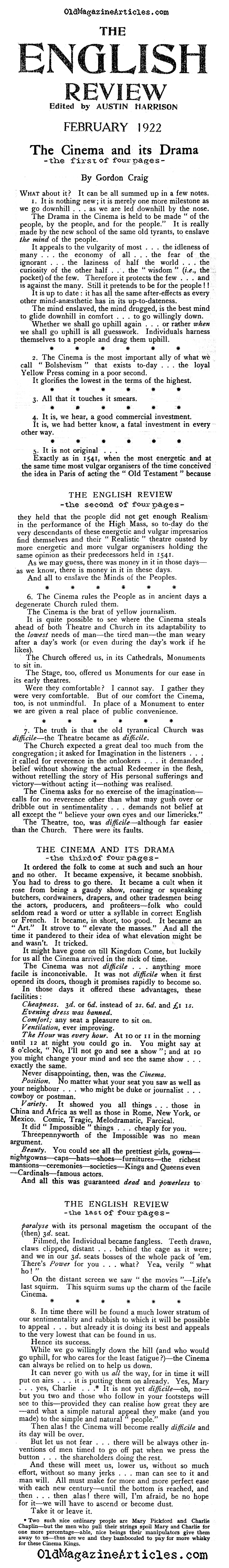 One Thousand Nasty Remarks About Silent Films  (The English Review, 1922)