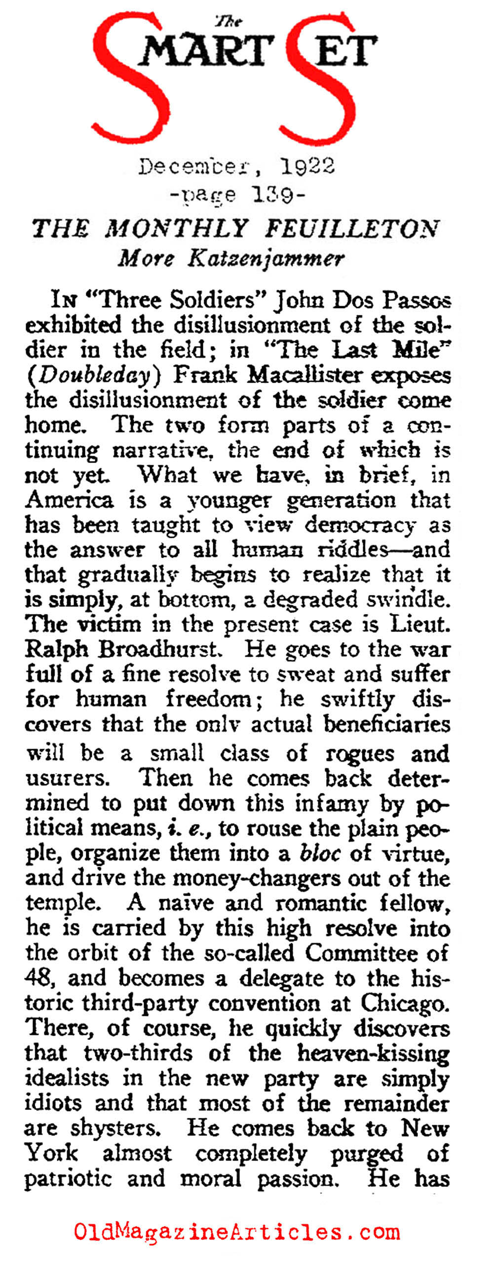 H.L. Mencken  Reviewed Two Novels Dealing the War and Disillusionment  (The Smart Set, 1922)