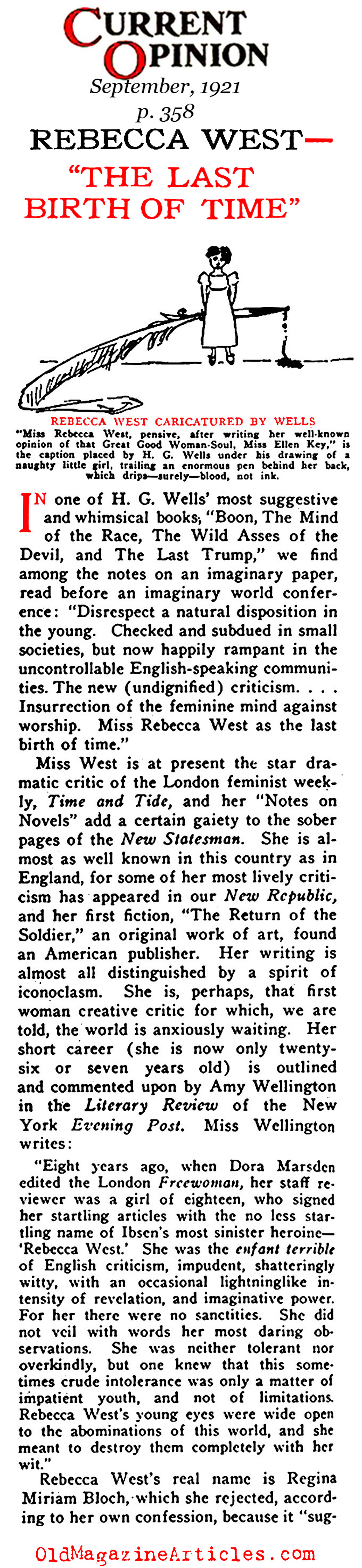 Rebecca West: The Last Birth of Time (Current Opinion, 1921)
