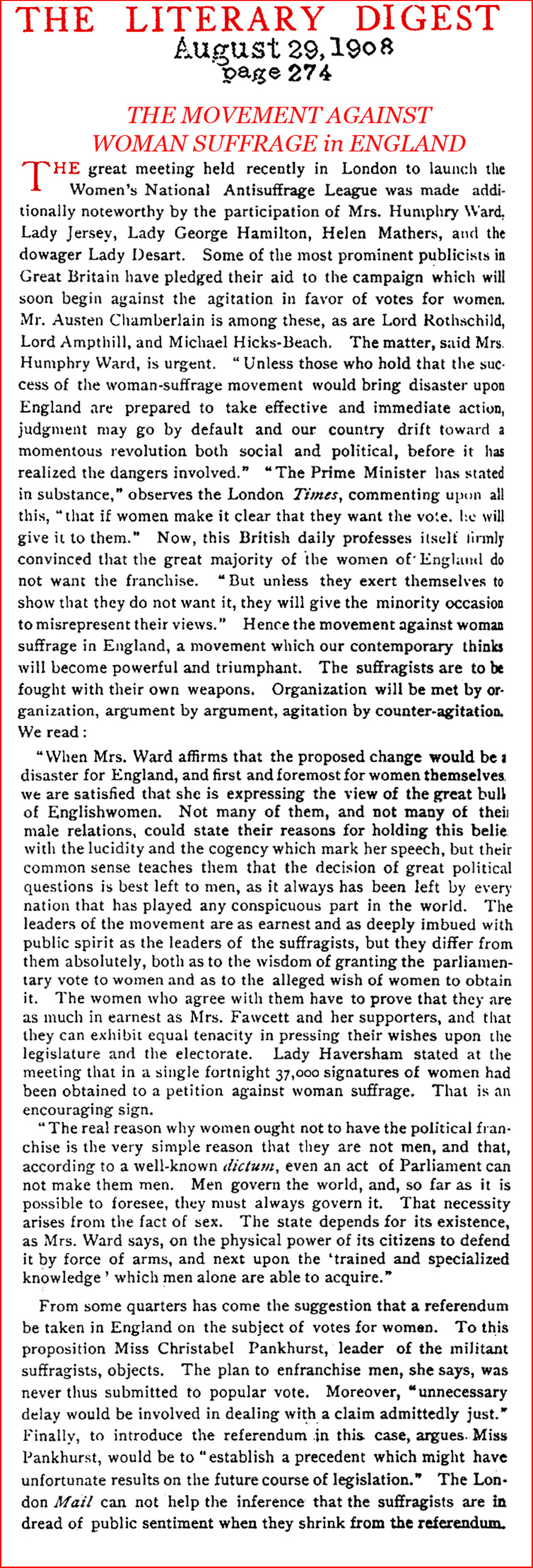 ''Down-With Suffrage!'' (Literary Digest, 1908)