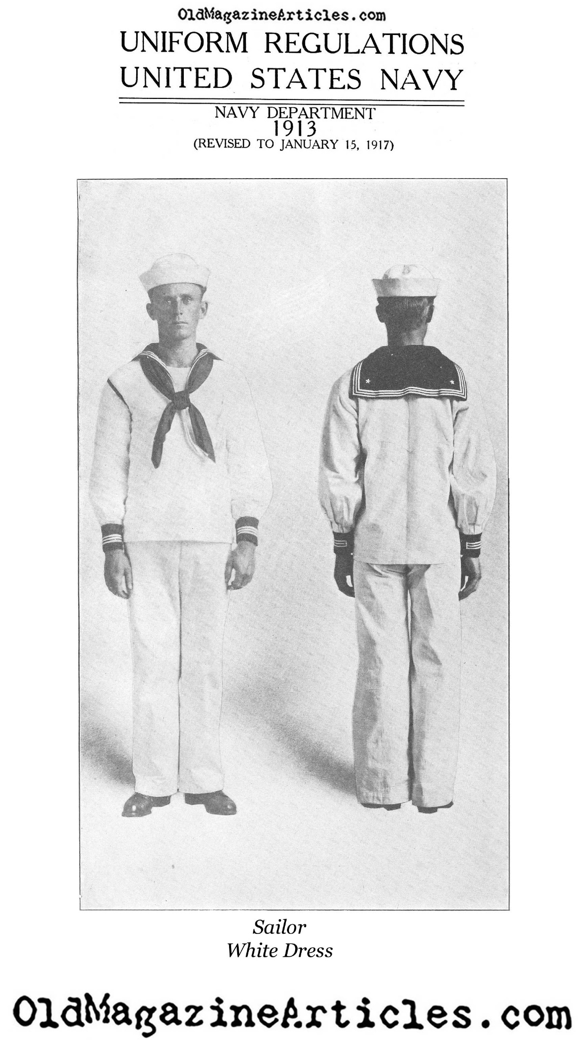 Dress White Uniform: U.S. Sailor (Navy Department, 1917)