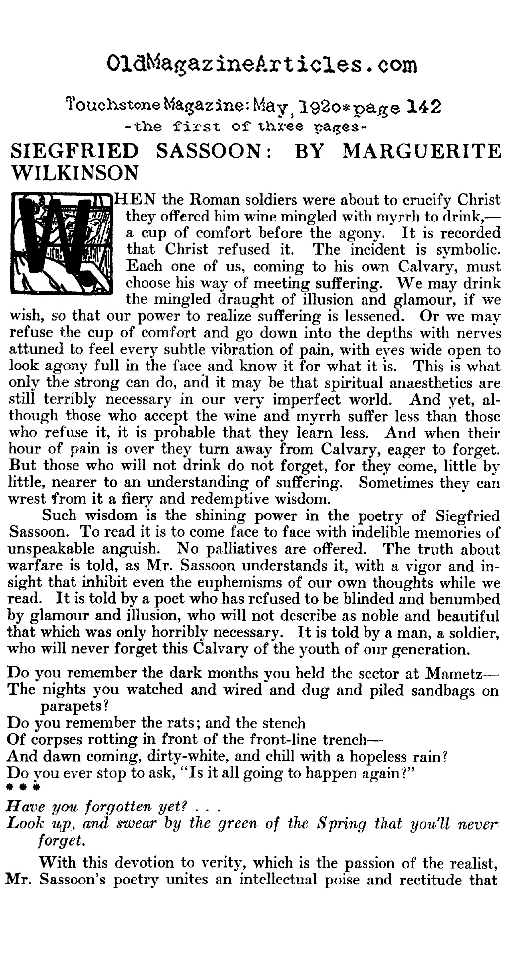 Siegfried Sassoon Reviewed (Touchstone Magazine, 1920)