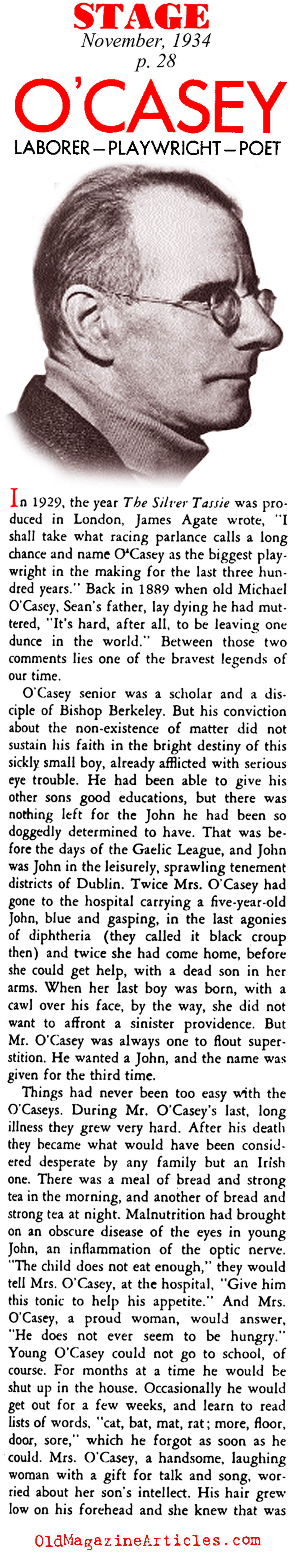 Sean O'Casey: Laborer, Playwright, Poet (Stage Magazine, 1934)