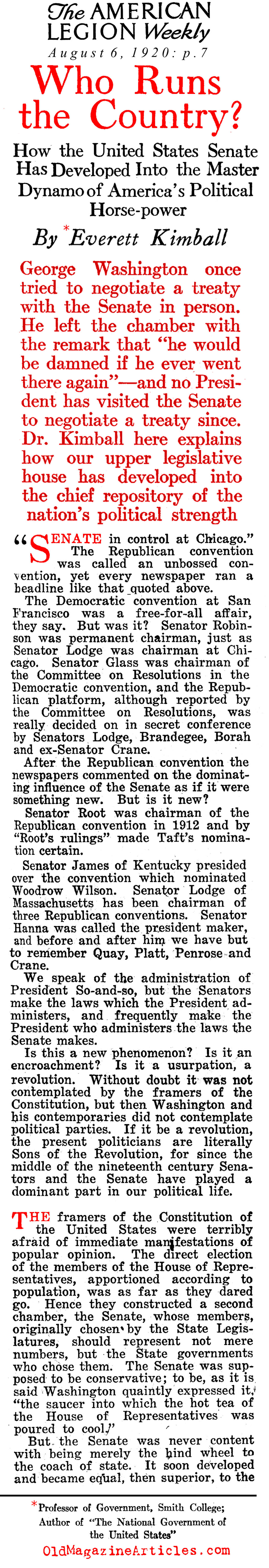 The Popularly-Elected Senate (American Legion Weekly, 1920)