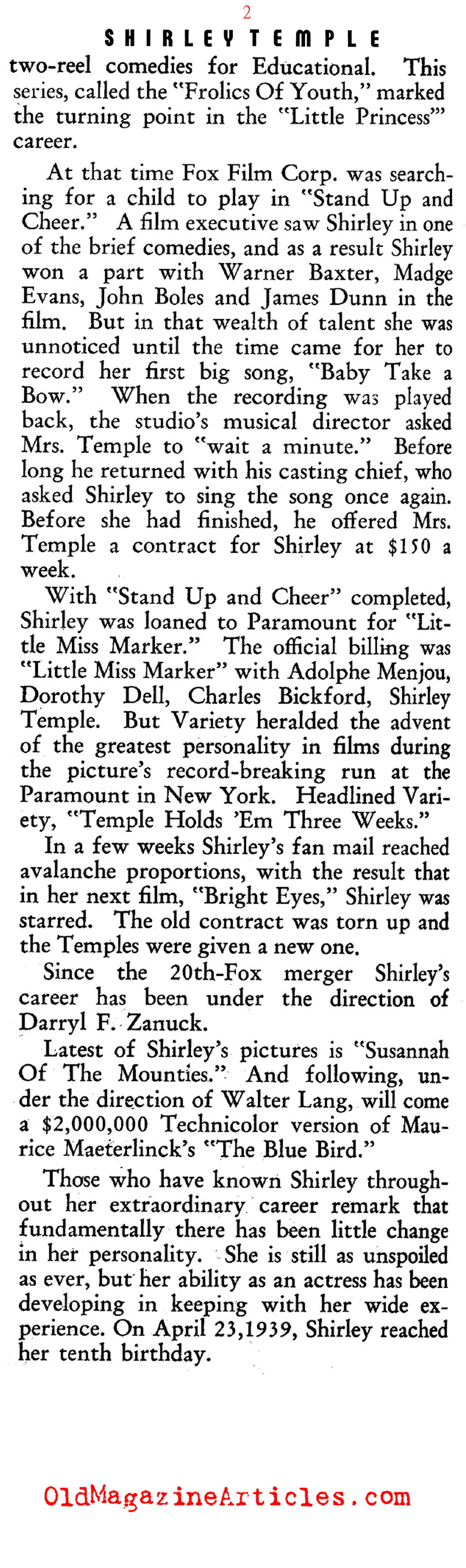 A Profile of Shirley Temple (Film Daily, 1939)