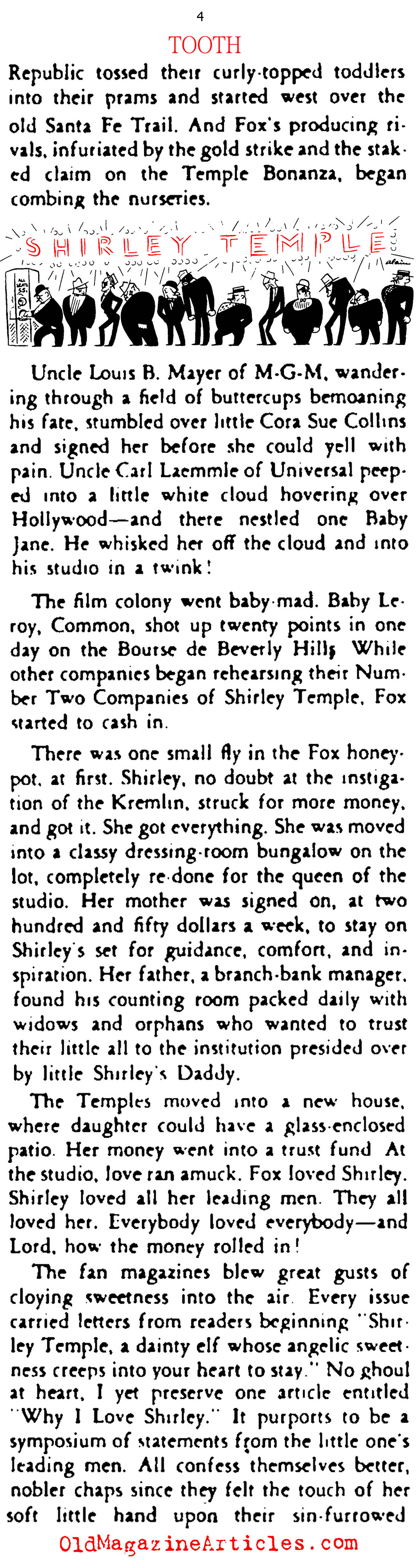 Shirley Temple Sheds a  Baby Tooth! (Stage Magazine, 1935)