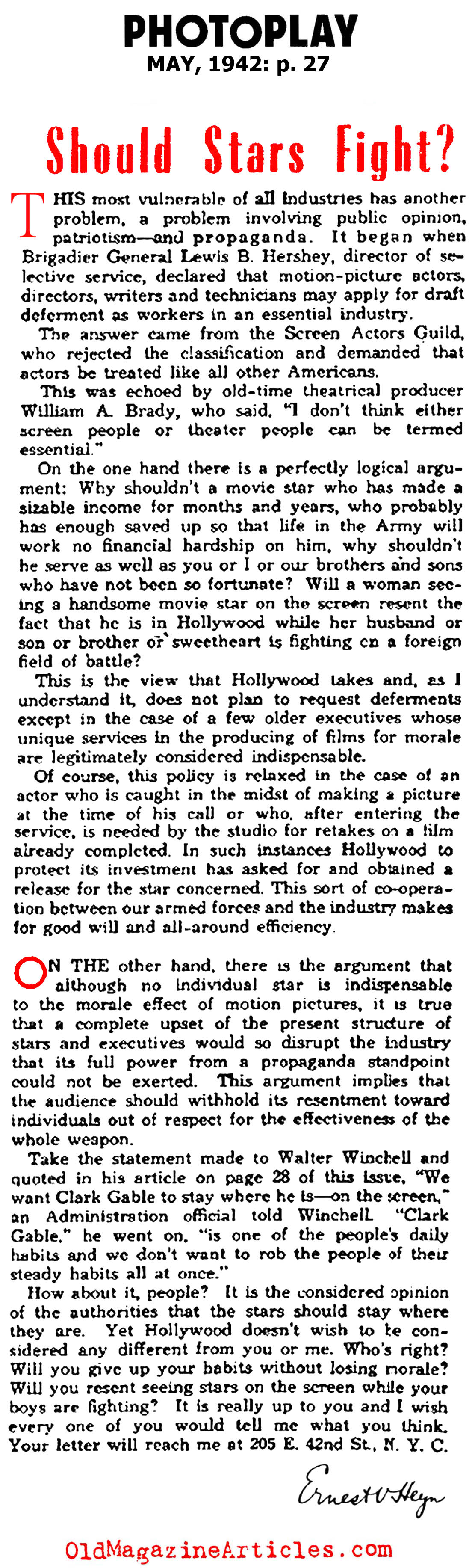 Should Movie Stars Be Expected to Fight , As Well? (Photoplay Magazine, 1942)
