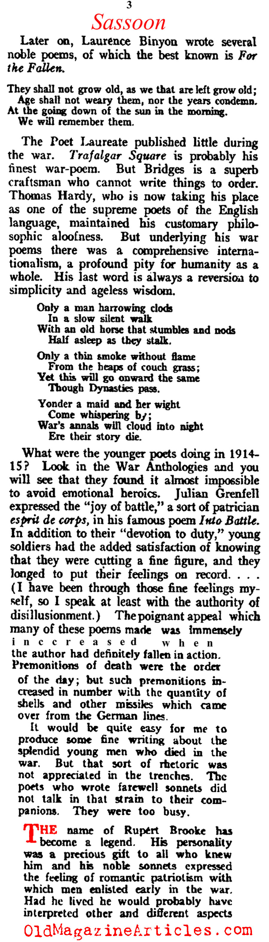 ''Some Aspects of War Poetry by Siegfried Sassoon (Vanity Fair Magazine, 1920)