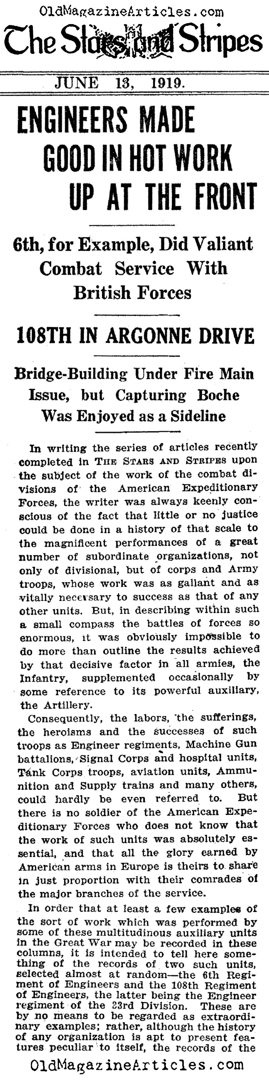 The U.S. Sixth Engineers and the 1918 March Offensive <BR>(The Stars and Stripes,1919)