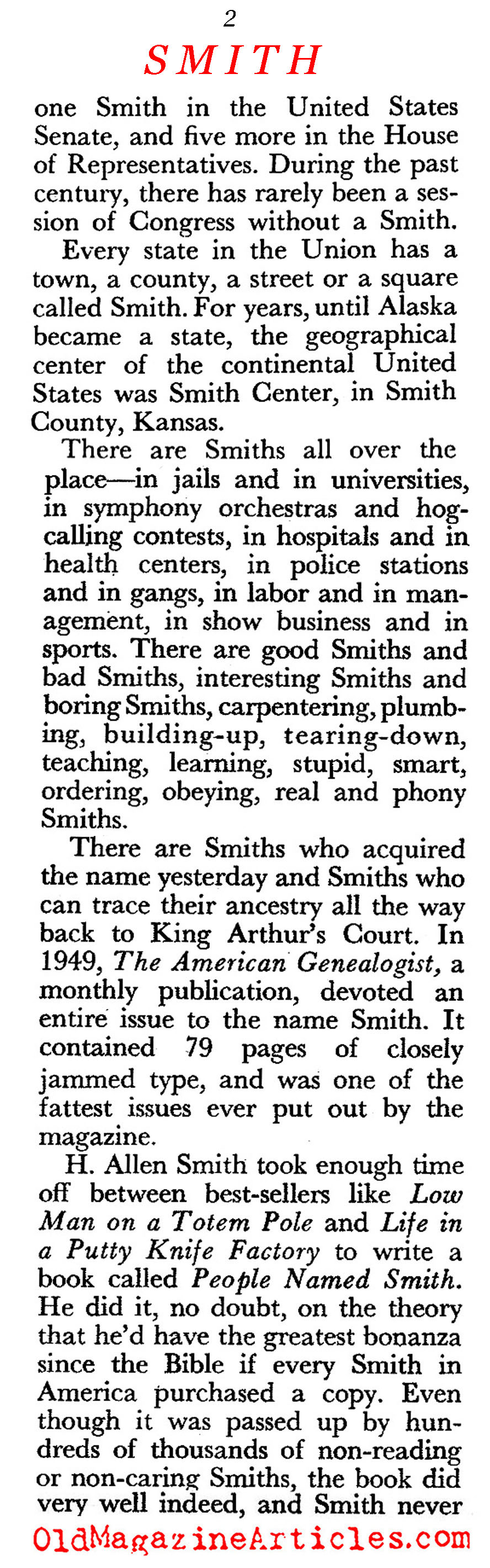 The Smiths in America (Pageant Magazine, 1959)