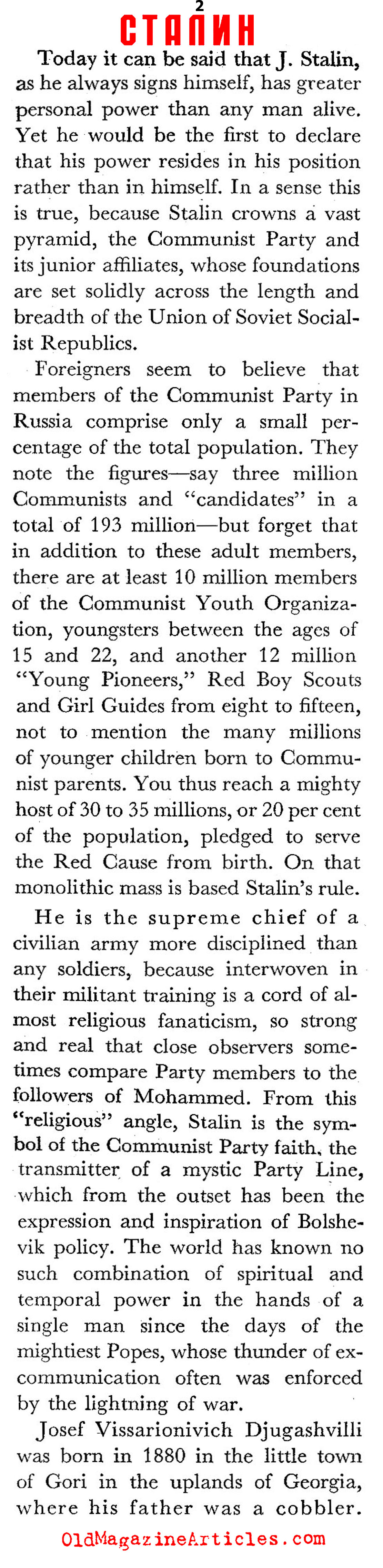The Optimist's Joseph Stalin (Coronet Magazine, 1943)