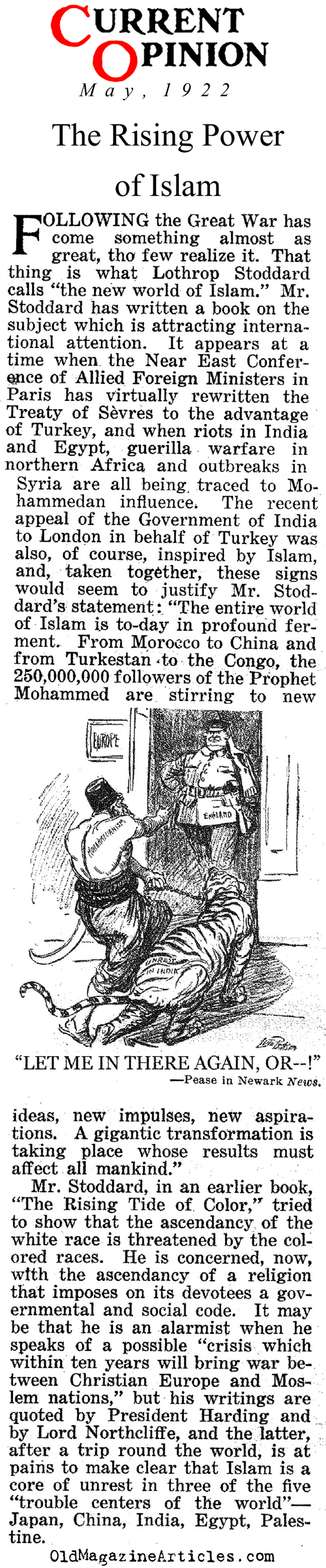 The Rise of Islamic Outrage    (Current Opinion, 1922)