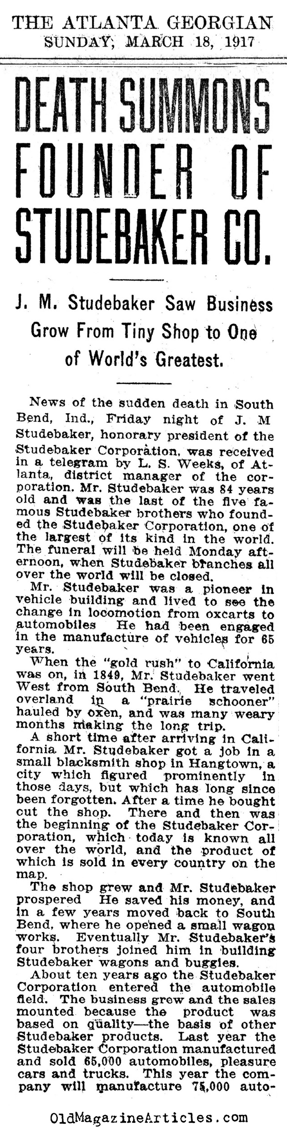 The Obituary of J.M. Studebaker  (The Atlanta Georgian, 1917)